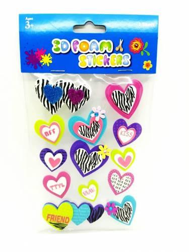 Goma Eva Figuras 3d Stickers En Plancha Corazones 50485