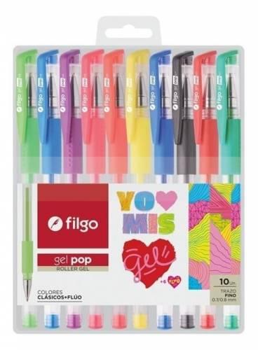 Boligrafo Filgo Pop Gel X 10 Colores En Estuche