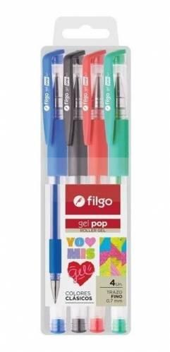 Boligrafo Filgo Pop Gel X 4 Colores En Estuche