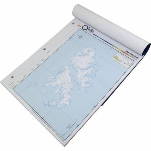 Mapa Alfa N°3 Político Islas Malvinas 40 Hjs
