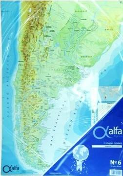 Mapa Alfa N°6 Físico Político República  Argentina 25 Hjs