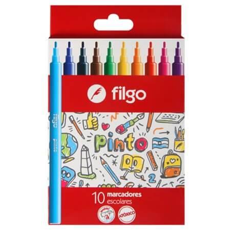 Marcadores Filgo Pinto Escolar Caja X 10 Colores