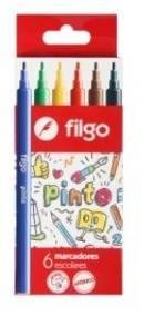 Marcadores Filgo Pinto Escolar Caja X 6 Colores
