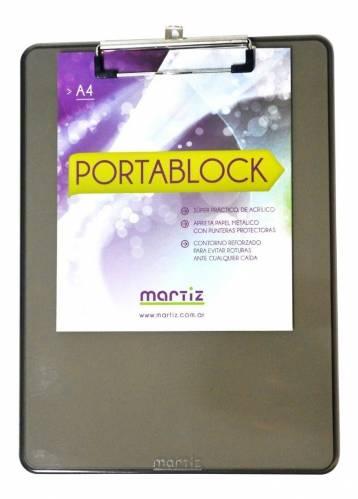 Portablock Acrilico Martiz A4 C/clip Metal
