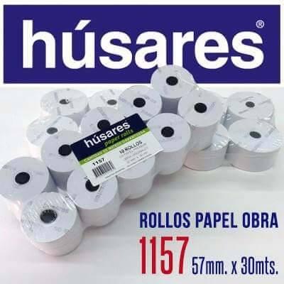 Rollo Husares P/registradora 1157 Papel Obra 57mm X 30mts Paq X 10 Unid