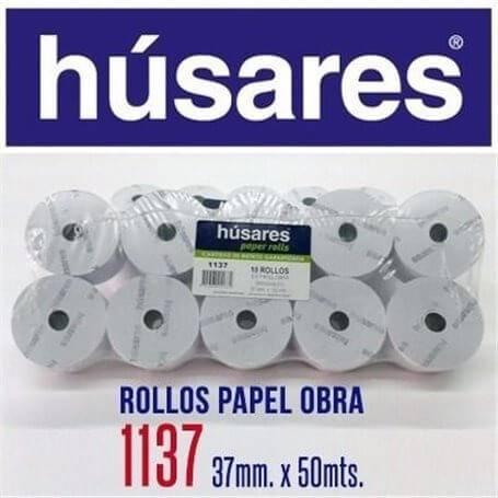 Rollo Husares P/registradora 1137 Papel Obra 37mm X 30mts Paq X 10 Unid