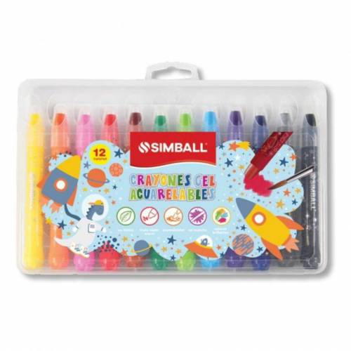 Crayones Simball Gel X 12 Colores Acuarelables