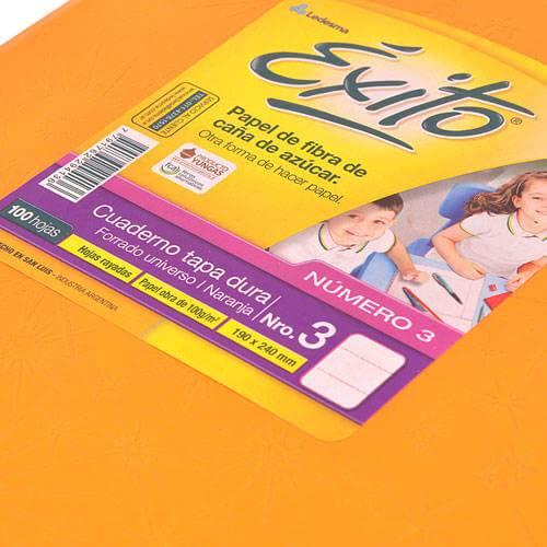 Cuaderno Éxito 19x24 Forrado Td 100 Hjs Rayado Naranja