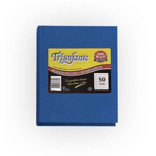 Cuaderno Triunfante Forrado T/d 50 Hjs Rayado Azul