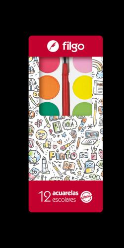 Acuarela Escolar Filgo X 12 Colores C/pincel