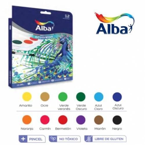 Acuarela Alba Escolar X 12 Colores C/pincel