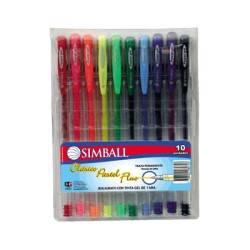Boligrafo Simball Power Gel X 10 Unid En Estuche