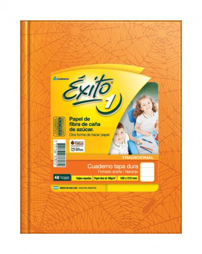 Cuaderno Éxito Forrado T/d 48 Hjs Rayado Naranja