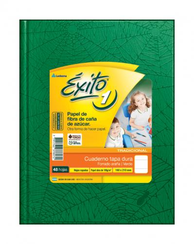 Cuaderno Éxito Forrado T/d 48 Hjs Rayado Verde