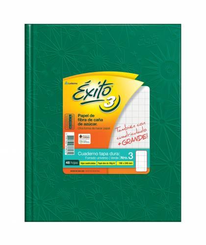 Cuaderno Éxito 19x24 Forrado T/d 48 Hjs Cuadriculado Verde