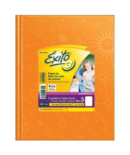 Cuaderno Éxito 19x24 Forrado T/d 48 Hjs Rayado Naranja