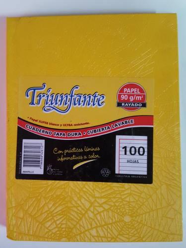 Cuaderno Triunfante Forrado T/d 100 Hjs Rayado Amarillo