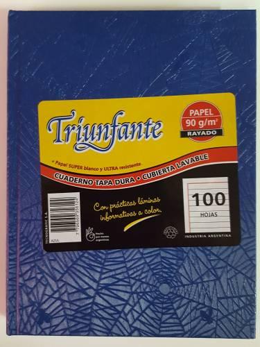 Cuaderno Triunfante Forrado T/d 100 Hjs Rayado Azul