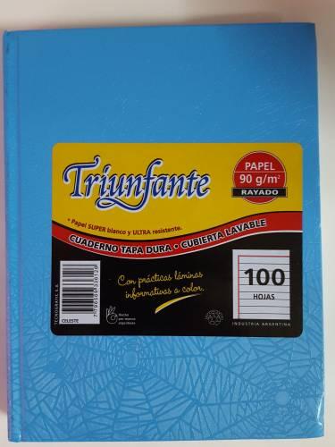 Cuaderno Triunfante Forrado T/d 100 Hjs Rayado Celeste