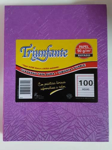 Cuaderno Triunfante Forrado T/d 100 Hjs Rayado Lila
