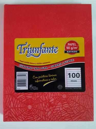 Cuaderno Triunfante Forrado T/d 100 Hjs Rayado Rojo