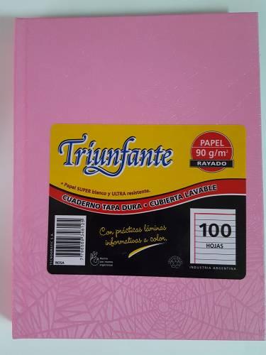 Cuaderno Triunfante Forrado T/d 100 Hjs Rayado Rosa