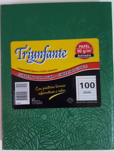 Cuaderno Triunfante Forrado T/d 100 Hjs Rayado Verde