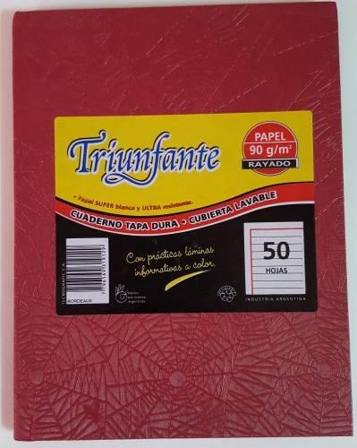 Cuaderno Triunfante Forrado T/d 50 Hjs Rayado Bordo