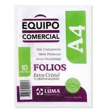 Folio Luma A4 X 10 Polipropileno Equipo Comercial