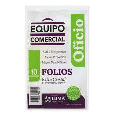 Folio Luma Oficio X 10 Polipropileno Equipo Comercial