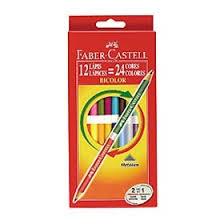 Lapices De Colores Faber Bicolor X 12 Largos