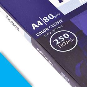 Papel Ledesma Autor 80 Gr A4 Color Celeste X 250 Hj