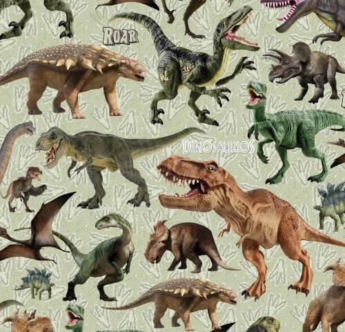 Papel Plastificado Fantasia Dinosaurios