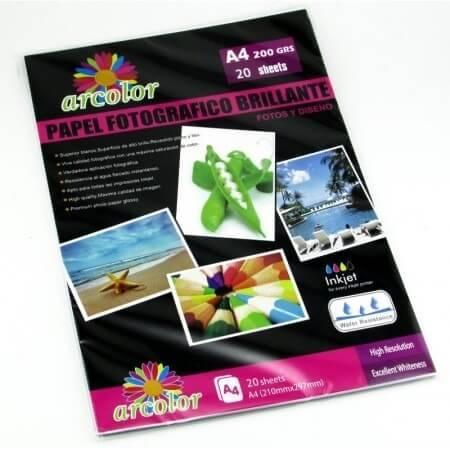 Papel Fotografico A4 X 20 Unid Arcolor 200 Grs