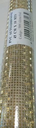 Rollo Autoadhesivo 45x10 Mts Glitter Circulo Oro Ts041