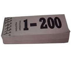 Talonario Guardarropa 1-200