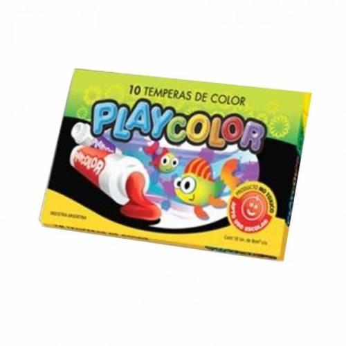 Témpera Escolar Playcolor Caja 8 Ml X 10 Unid Amarillo